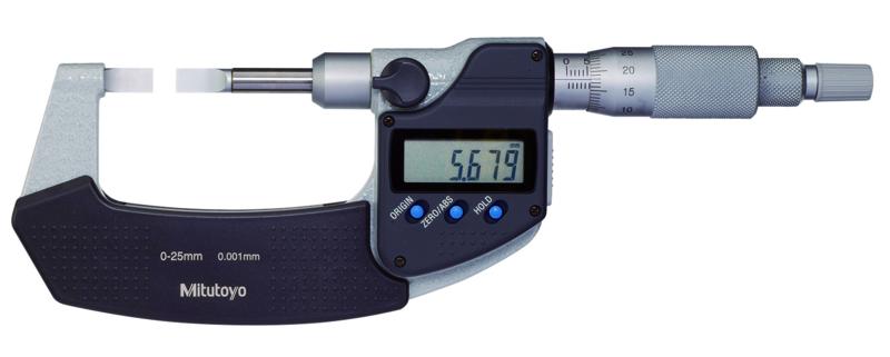 Digital Bygelmikrometer 422-serien Med Smala Mätytor